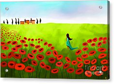 Strolling Among The Red Poppies Acrylic Print by Anita Lewis