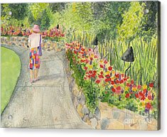 Acrylic Print featuring the painting Strolling Butchart Gardens by Vicki  Housel