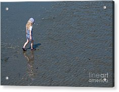 Strolling On The Beach Acrylic Print by Malu Couttolenc