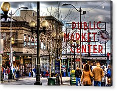 Strolling Towards The Market - Seattle Washington Acrylic Print by David Patterson