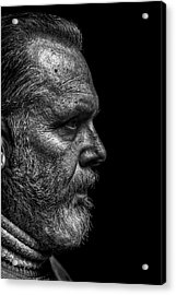 Strong B&w Portrait Of A Rugged Looking Acrylic Print by Cmannphoto