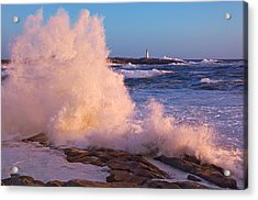 Strong Winds Blow Waves Onto Rocks Acrylic Print by Thomas Kitchin & Victoria Hurst