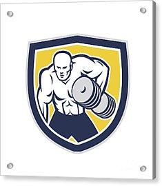 Strongman Lifting Dumbbells Front Shield Retro Acrylic Print by Aloysius Patrimonio