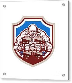 Strongman Lifting Dumbbells Shield Retro Acrylic Print by Aloysius Patrimonio