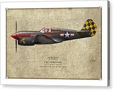 Stud P-40 Warhawk - Map Background Acrylic Print by Craig Tinder