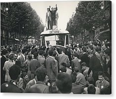 Student Clash With Police Is Boisterous Demonstration Acrylic Print by Retro Images Archive