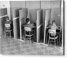 Students In Cubicles Acrylic Print by Underwood Archives