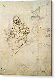 Studies For A Virgin And Child And Of Heads In Profile And Machines, C.1478-80 Pencil And Ink Acrylic Print by Leonardo da Vinci