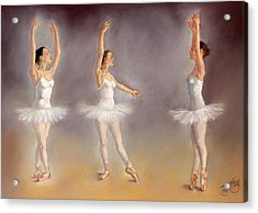 Studies Of A Ballet Dancer Acrylic Print by Margaret Merry