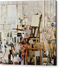 Studio, 1986 Oil On Canvas Acrylic Print by Jeremy Annett