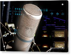 Acrylic Print featuring the photograph Studio Microphone And Recording Gear by Gunter Nezhoda