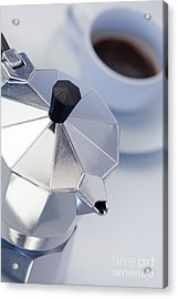 Studio Still Life Of Italian Style Expresso Maker With Expresso  Acrylic Print