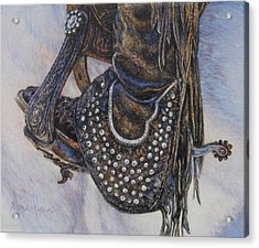 Studs Spurs And Worn Leather Acrylic Print