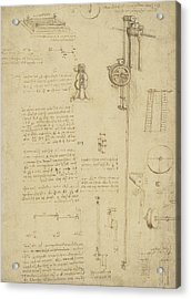 Study And Calculations For Determining Friction Drawing With Notes On Gardens Of Milanese Palace Acrylic Print by Leonardo Da Vinci