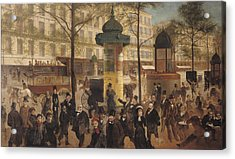 Study For A Panorama Of The Boulevard De Montmartre, 1877 Oil On Canvas Acrylic Print by Andre Gill
