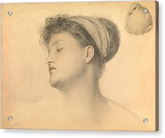 Study For Girl With Doves Acrylic Print by Anthony Frederick Augustus Sandys