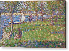Study For La Grande Jatte Acrylic Print by Georges Seurat