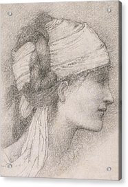 Study Of A Female Head To The Right Acrylic Print by Sir Edward Coley Burne-Jones