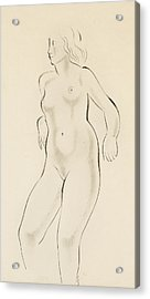 Study Of A Female Nude Acrylic Print by Eric Gill