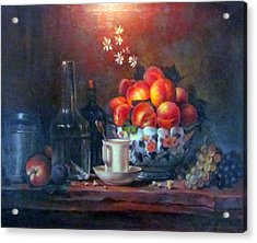 Acrylic Print featuring the painting Study Of Peaches by Donna Tucker