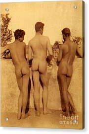 Study Of Three Male Nudes Acrylic Print