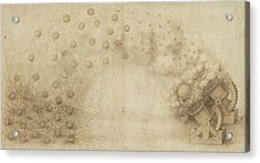 Study Of Two Mortars For Throwing Explosive Bombs From Atlantic Codex Acrylic Print by Leonardo Da Vinci