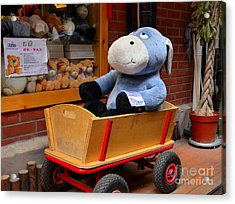 Stuffed Donkey Toy In Wooden Barrow Cart Acrylic Print
