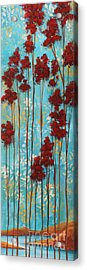 Stunning Abstract Landscape Elegant Trees Floating Dreams I By Megan Duncanson Acrylic Print by Megan Duncanson