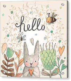 Stunning Card With Cute Rabbit Acrylic Print