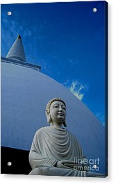 Stupa And Buddha Statue-anuradhapura Acrylic Print by Surendra Silva