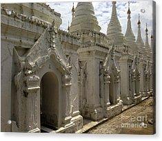 Acrylic Print featuring the photograph Stupas With Buddhist Inscription Slabs Sandamuni Pagoda Mandalay Burma by Ralph A  Ledergerber-Photography