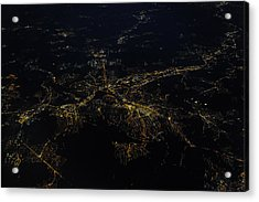 Stuttgart From The Air At Night Acrylic Print by (c) Florian Leist