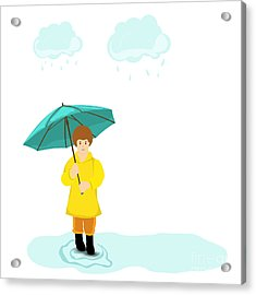 Stylish Girl Holding Green Umbrella On Acrylic Print
