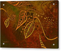 Stylized Leaves Abstract Art  Acrylic Print by Ann Powell