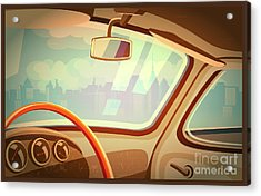 Stylized Retro Interior Vector Acrylic Print