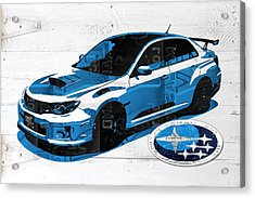 Subaru Impreza Wrx Recycled License Plate Art On White Barn Door Acrylic Print