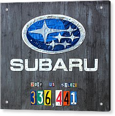 Subaru Logo Art Celebrating 2012 Usa Sales Totals Acrylic Print by Design Turnpike