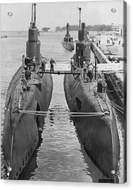 Submarines At Port Acrylic Print by Retro Images Archive