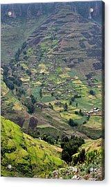 Subsistence Farming In Simien Mountains Acrylic Print by Tony Camacho
