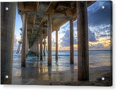 Subtle Pier Sunset Acrylic Print