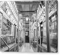 Acrylic Print featuring the photograph New York City - Subway Car by Dave Beckerman