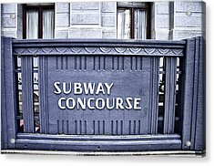 Subway Concourse At City Hall Acrylic Print by Bill Cannon