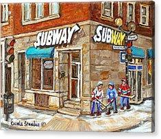 Subway Restaurant Monk Avenue Verdun Montreal Art Winter Hockey Scenes Paintings Carole Spandau Acrylic Print by Carole Spandau