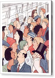 Subway Riders All Resemble Eustace Tilley Acrylic Print by R. Sikorya