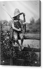 Successful Day Of Fishing  1919 Acrylic Print by Daniel Hagerman