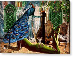 Acrylic Print featuring the painting Suck My Peacock by Ally  White