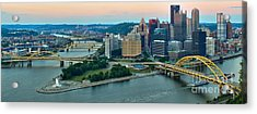 Pink Over The Pittsburgh Skyline Acrylic Print