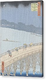 Sudden Shower On Ohashi Bridge At Ataka Acrylic Print by Ando Hiroshige