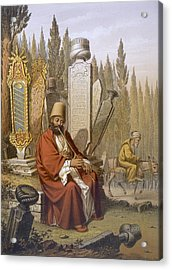 Sufi, Playing The Ney, Sits Acrylic Print by Jean Brindesi