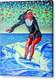 Surfing Nun /god-is Love ...love-is Life/ Acrylic Print